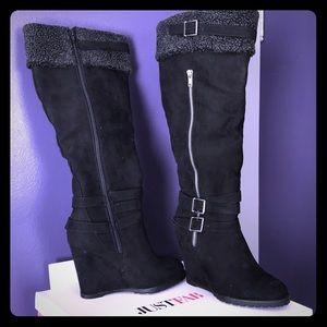 Black wedge wide leg boots